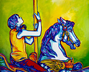 Carousel Painting Originals - Merry-go-round by Derrick Higgins