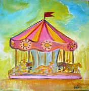 Carousel Art Painting Originals - Merry-go-round by Fatema Josh