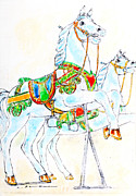Featured Pastels Posters - Merry-go-round horses Poster by Kurt Tessmann
