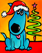 Original Abstract Art Drawings Prints - Merry - Holiday Dog Pop Art Print by Tom Fedro - Fidostudio