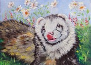Ferrets Prints - Merry in the Summer Flowers Print by Ginger Jamerson