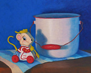 Toy Pastels Posters - Merry Mousewife Poster by Becky Roesler