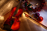 Violin Digital Art - Merry Music by Daniel Alcocer