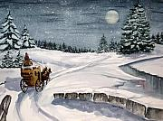 Winterscape Painting Originals - Merry Ride by Julia Rietz