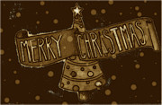 Silent Night Prints - Merry Sepia Christmas Print by Jame Hayes