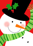 Seasonal Mixed Media Prints - Merry Snowman Print by Valerie  Drake Lesiak