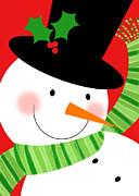 Merry Snowman Print by Valerie   Drake Lesiak