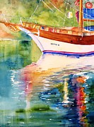 Carlin Paintings - Merve II gulet yacht by Carlin Blahnik