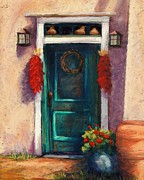 Adobe Building Pastels Posters - Mesilla Door Poster by Candy Mayer