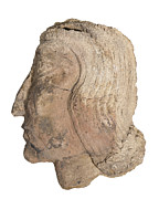 Clay Sculpture Framed Prints - Mesopotamian Terracotta face Framed Print by Ilan Amihai