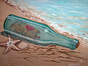 Wine Bottle Paintings - Message in a Bottle by Brenda Brown