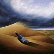 Sand Dunes Paintings - Message In A Bottle by Ric Nagualero