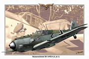 Dogfight Mixed Media - Messerschmitt Bf 109E4 - Franz von Werra by A Hermann
