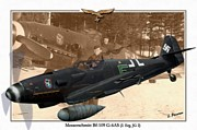 Kreuz Prints - Messerschmitt Bf 109G6 AS - Manfred Dieterle Print by A Hermann