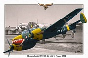 Dogfight Mixed Media - Messerschmitt Bf 110E - Nachtjagdgeschwader 1 by A Hermann