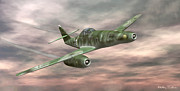 Aviator Mixed Media Posters - Messerschmitt Me-262 Poster by Walter Colvin