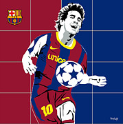 Messi Painting Framed Prints - messi Football Framed Print by Roby Marelly