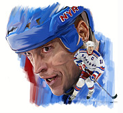 Hockey Drawings Framed Prints - Messier  Mark Messier Framed Print by Iconic Images Art Gallery David Pucciarelli