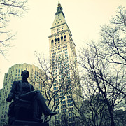 Nyc Digital Art Metal Prints - Met Life and Madison Square Park Metal Print by Natasha Marco