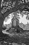 Metairie Cemetery Prints - Metairie Cemetery monchrome Print by Steve Harrington