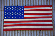 Metal Framed Prints - Metal American Flag Framed Print by Garry Gay