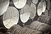 Steel Drum Prints - Metal Barrels 1BW Print by Rudy Umans