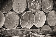Petrol Green Framed Prints - Metal Barrels 2BW Framed Print by Rudy Umans