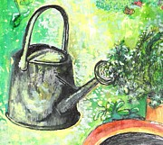Watering Can Mixed Media - Metal Watering Can by Barbara LeMaster