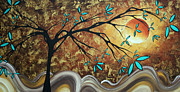 Tree Art Paintings - Metallic Gold Textured Original Abstract Landscape Painting APRICOT MOON by MADART by Megan Duncanson