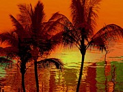 Tropical Sunset Digital Art Prints - Metallic sunset Print by Athala Carole Bruckner