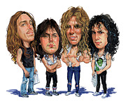 Caricature Painting Framed Prints - Metallica Framed Print by Art