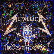 Metallica Posters - Metallica beadwork with swarovski Poster by Sofia Metal Queen