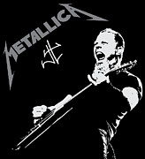 Celebrities Digital Art Framed Prints - Metallica Framed Print by Caio Caldas