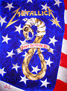 Metallica Painting Framed Prints - Metallica logo and American flag. Art by Sofia Metal Queen Framed Print by Sofia Metal Queen