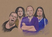 Metallica Drawings - Metallica portrait by Todd Cass