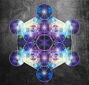 Green Chakra Prints - Metatrons Cube blue Print by Filippo B