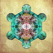 Sacred Circle Prints - Metatrons Cube Print by Filippo B
