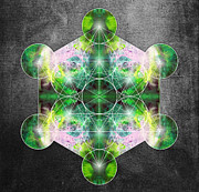 Mandala Prints - Metatrons Cube green Print by Filippo B
