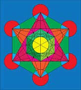 Platonic Prints - Metatrons Cube in Colors Print by Steven Dunn