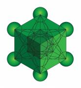 Hyper Framed Prints - Metatrons Cube in Green Framed Print by Steven Dunn