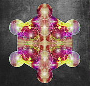 Yellow Chakra Posters - Metatrons Cube magenta yellow Poster by Filippo B