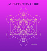 Platonic Digital Art - Metatrons Cube - Pinky Purple by Jelila Jelila