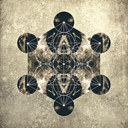 Flower Of Life Posters - Metatrons Cube Silver Poster by Filippo B