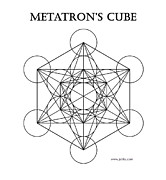 Platonic Digital Art - Metatrons Cube - White by Jelila Jelila