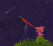 Boy Drawings Posters - Meteor Shower Poster by Christy Beckwith