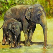Zoo Animals Paintings - Methai and Baylor Asian Elephants by Sandra Cutrer
