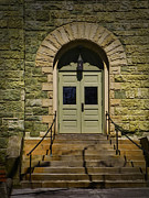 Kingston Prints - Methodist Church Doors Kingston NY Print by Pamela Phelps