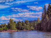 River Glass Art Prints - Methow River Crossing Print by Omaste Witkowski