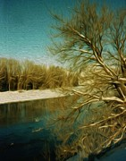Methow Valley Posters - Methow River in Winter Poster by Carolyn Slattery