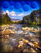 Methow Prints - Methow River Meeting Winthrop Landscape Abstract Painting Print by Omaste Witkowski